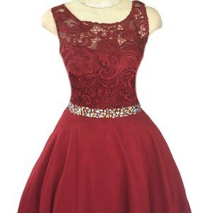 SHORT DRESS EMBROIDERY STONES GOWN PARTY PROM 'S'